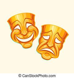 goldenes, komiker, und, tragisch, theatermaske