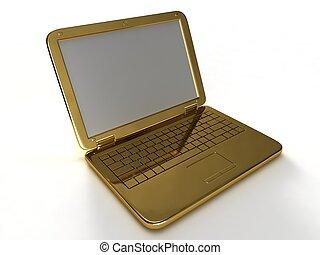 goldenes, laptop.