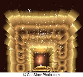 goldenes, licht, stern- stoß