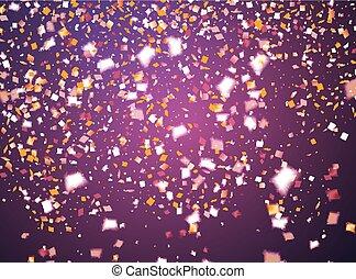 goldenes, lila, fliegendes, einige, fokus, konfetti, ...