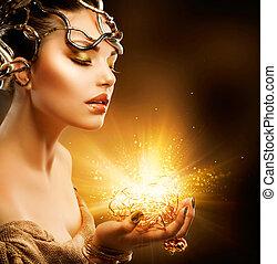 goldenes, m�dchen, mode, portrait., aufmachung