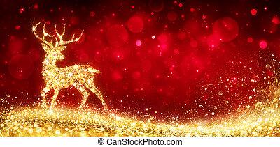 goldenes, magisches, -, hirsch, karte, hintergrund, glänzend, weihnachten, rotes