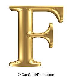 goldenes, matt, buchstabe f, schmuck, schriftart, sammlung