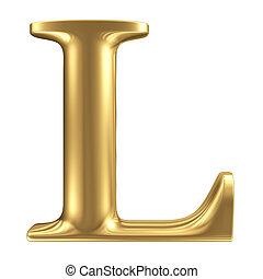 goldenes, matt, schmuck, l, sammlung, brief, schriftart