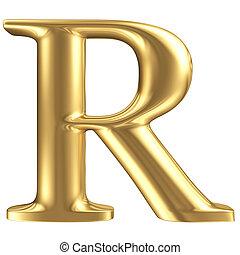 goldenes, matt, schmuck, sammlung, brief, r, schriftart