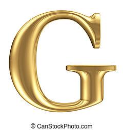 goldenes, matt, schriftart, schmuck, sammlung, buchstabe g