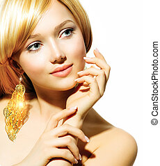 goldenes, mode, blond, schoenheit, ohrringe, modell, m�dchen