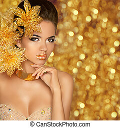 goldenes, mode, glitte, schoenheit, freigestellt, porträt, m�dchen, weihnachten