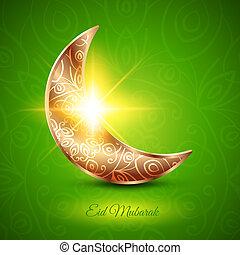 goldenes, mubarak, fest, moslem, gemeinschaft, mond, eid