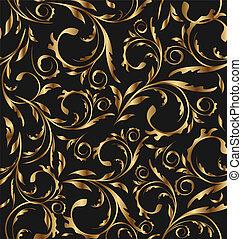 goldenes, muster, kontinuierlich, -, seamless, abbildung, hintergrund, vektor, wiederholen, blumen-