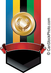 goldenes, olympisch, ehrennadel, banner, spiele