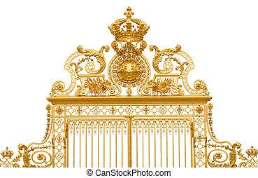 goldenes, palast, fragment, freigestellt, frankreich, tor,...