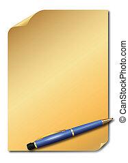 goldenes, papier, blau, bleistift