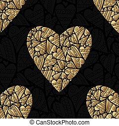 goldenes, pattern., seamless, elegant, vektor, schwarz