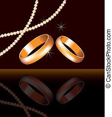 goldenes, perlen, ringe, perle, vektor, wedding