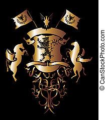 goldenes, pferd, kunst, schutzschirm, adler, löwe, vektor