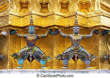 goldenes, phra, statuen, palast, pagode, -, smaragd, dämon, (wat, bangkok, kaeo), (giant), thailand., großartig, buddha, geschützt, tempel, wächter