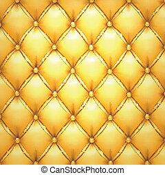goldenes, polsterung, leder, muster, hintergrund., vektor