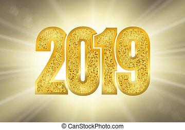 goldenes, poster., gold, zahl, jahr, glitzer, design, strahlen, karte, sonne, bokeh, funkeln, glühen, neu , 2019., weihnachten, glücklich, abbildung, hintergrund., feier, ziffern, licht, gruß, vektor, glänzend