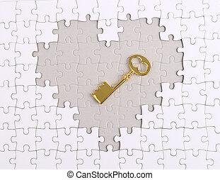 goldenes, puzzel, form, schlüssel, herz