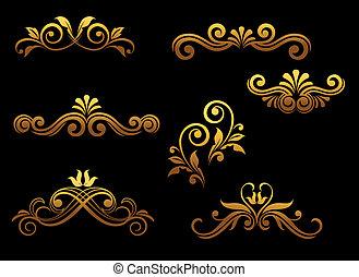 goldenes, ränder, elemente, weinlese