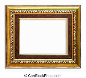 goldenes, rahmen, bild, weiß, hintergrund, mit, ausschnitt...