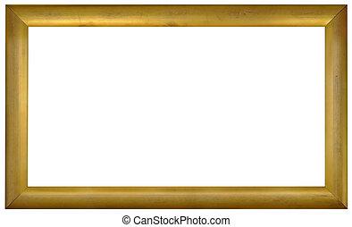 goldenes, rahmen, freisteller, bild