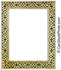 goldenes, rahmen, freisteller, spiegel