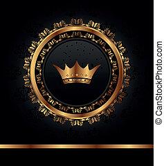 goldenes, rahmen, königlich, hintergrund