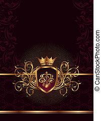 goldenes, rahmen, krone, aufwendig