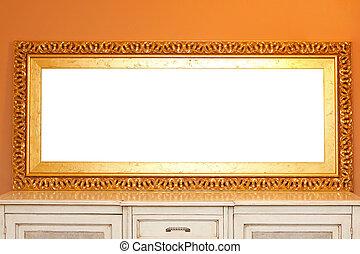 goldenes, rahmen, spiegel