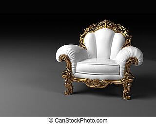 goldenes, rahmen, weißes, luxus, sessel