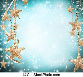 goldenes, raum, text, frei, thema, sternen, weihnachten