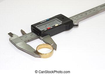 goldenes, ring, calliper, digital