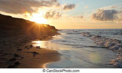 goldenes, sandstrand, sunset.