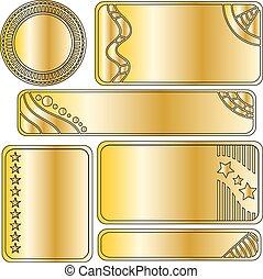 goldenes, satz, festlicher, taste, banner, oder