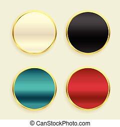 goldenes, satz, metallisch, tasten, glänzend, kreisförmig