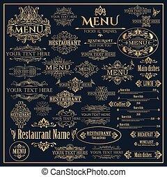 goldenes, satz, restaurantmenü, elemente, design