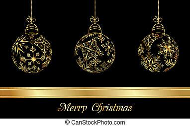 goldenes, satz, schneeflocken, kugeln, gemacht, weihnachten