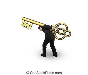 goldenes, schlagen symbol, schatz, form, tragen, schlüssel, mann