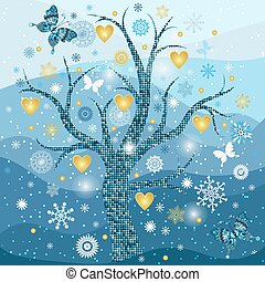 goldenes, schneeflocken, rahmen, baum, herzen, winter