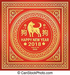 goldenes, schnitt, chinesisches , glücklich, hund, rotes , papier, 2018, hintergrund, jahr, neu , feiertag, karte, asiatisch