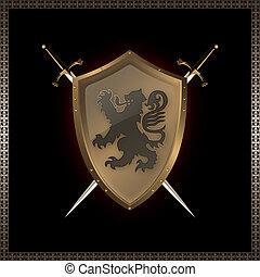 goldenes, schutzschirm, und, swords.