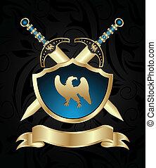goldenes, schwerter, mittelalterlich, schutzschirm