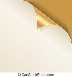 goldenes, seite, locke, mit, schatten, vektor, template.