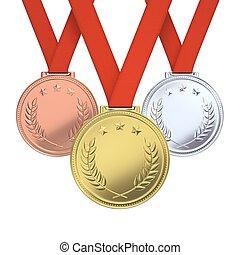 goldenes, silber, bronze, medaillen