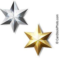 goldenes, silber, sternen