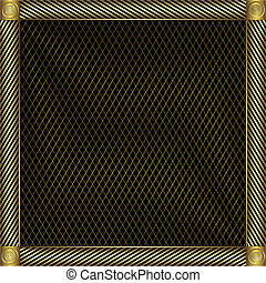 goldenes, silbrig, trellised, frame.