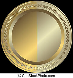 goldenes, silbrig, (vector), platte