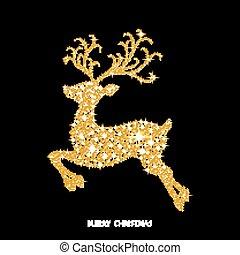 goldenes, sparks., dekoriert, weihnachten, glühen, rentier